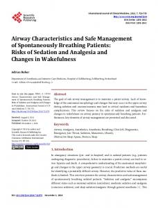 Airway Characteristics and Safe Management of Spontaneously ...