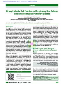 Airway Epithelial Cell Function and Respiratory Host Defense in ...