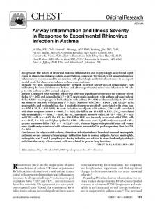 Airway Inflammation and Illness Severity in Response to Experimental ...