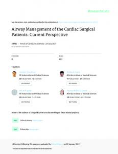 Airway Management of the Cardiac Surgical Patients