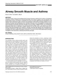 Airway Smooth Muscle and Asthma - Allergology International