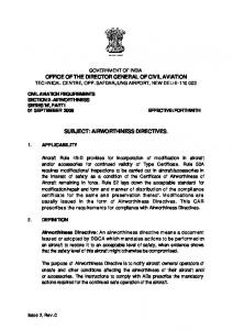 airworthiness directives. - Directorate General of Civil Aviation