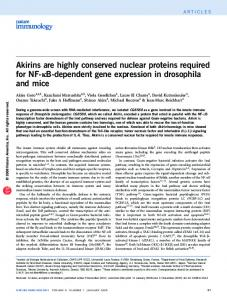 Akirins are highly conserved nuclear proteins required for NF ... - Nature