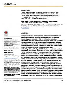 Akt Activation is Required for TGF-b1- Induced ... - Semantic Scholar