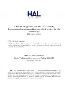 Albanian integration into the UE : security, Europeanization ... - Hal-SHS