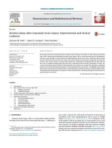 Alcohol abuse after traumatic brain injury: Experimental and clinical ...