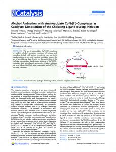 Alcohol Amination with Aminoacidato Cp*Ir(III)-Complexes as Catalysts