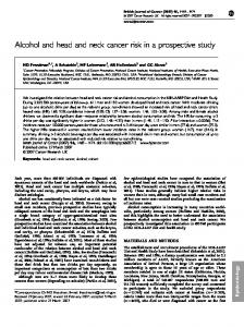 Alcohol and head and neck cancer risk in a ... - BioMedSearch