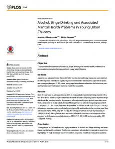 Alcohol, Binge Drinking and Associated Mental Health ... - Plos