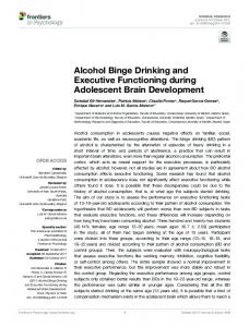 Alcohol Binge Drinking and Executive Functioning