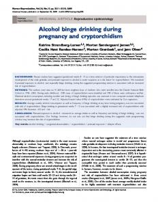 Alcohol binge drinking during pregnancy and cryptorchidism