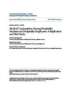 Alcohol Consumption Among Hospitality Students and Hospitality ...