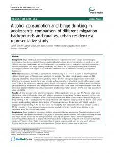 Alcohol consumption and binge drinking in adolescents - CiteSeerX