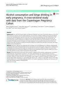 Alcohol consumption and binge drinking in early ... - Semantic Scholar
