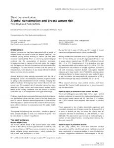 Alcohol consumption and breast cancer risk | SpringerLink
