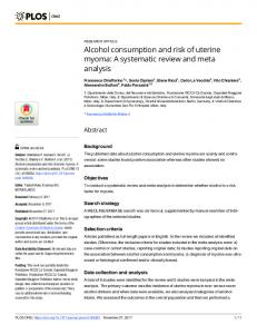 Alcohol consumption and risk of uterine myoma: A ... - Semantic Scholar