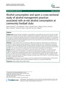 Alcohol consumption and sport: a cross-sectional study of alcohol ...
