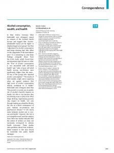 Alcohol consumption, wealth, and health - The Lancet