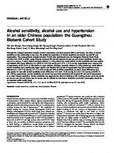 Alcohol sensitivity, alcohol use and hypertension in an older Chinese ...