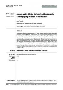 Alcohol septal ablation for hypertrophic obstructive cardiomyopathy: A ...