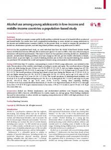 Alcohol use among young adolescents in low-income ... - The Lancet