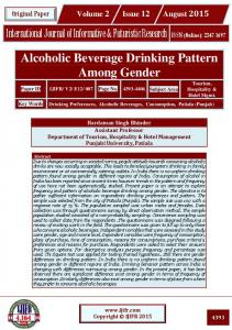 Alcoholic Beverage Drinking Pattern Among Gender