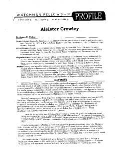 Aleister Crowley – Watchman Fellowship Profile - Kevin Stilley