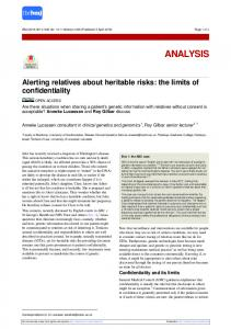Alerting relatives about heritable risks: the limits of ... - The BMJ