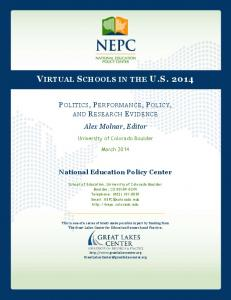 Alex Molnar, Editor - National Education Policy Center - University of ...