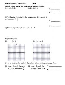 Algebra 1 Chapter 4 Practice Test Name Find the slope of the line ...