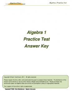 Algebra 1 Practice Test Answer Key - Algebra-Class.com