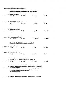 Algebra 1, Semester 1 Exam Review