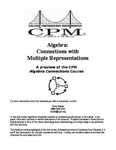 Algebra: Connections with Multiple Representations