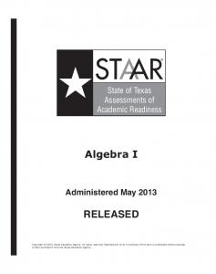 Algebra I RELEASED - Texas Education Agency
