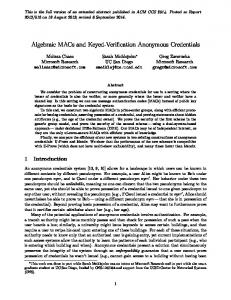 Algebraic MACs and Keyed-Verification Anonymous Credentials
