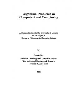 Algebraic Problems in Computational Complexity