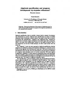 Algebraic specification and program development ... - Semantic Scholar