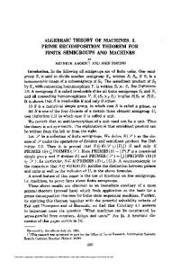 algebraic theory of machines. i. prime decomposition theorem for finite ...