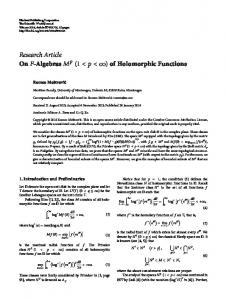 Algebras (1 < < ∞) of Holomorphic Functions - BioMedSearch