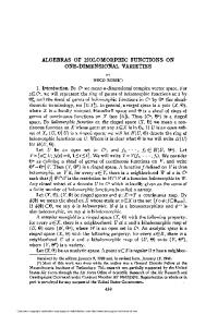 ALGEBRAS OF HOLOMORPHIC FUNCTIONS ON