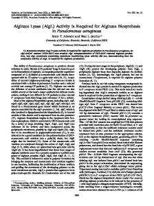 Alginate Lyase (AlgL) Activity Is Required for ... - Journal of Bacteriology