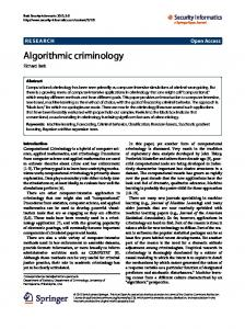 Algorithmic criminology - Semantic Scholar