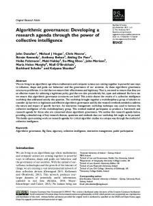 Algorithmic governance: Developing a research ... - SAGE Journals