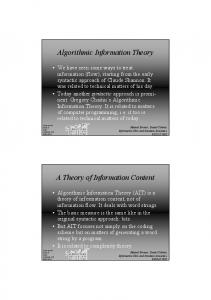 Algorithmic Information Theory A Theory of Information Content