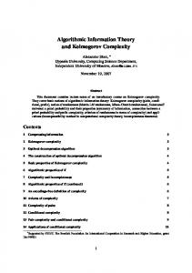 Algorithmic Information Theory and Kolmogorov Complexity - Lirmm