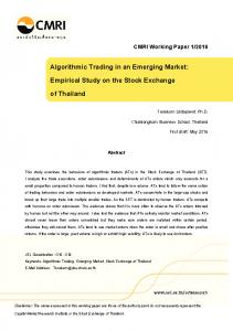 Algorithmic Trading in an Emerging Market: Empirical Study on the ...