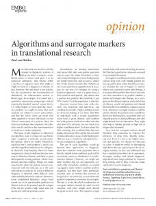 Algorithms and surrogate markers in translational research