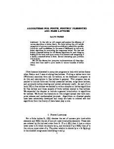 ALGORITHMS FOR FINITE, FINITELY PRESENTED AND FREE ...