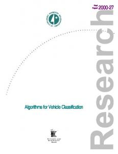 Algorithms for Vehicle Classification