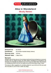 Alice in Wonderland Study Notes - Film Education